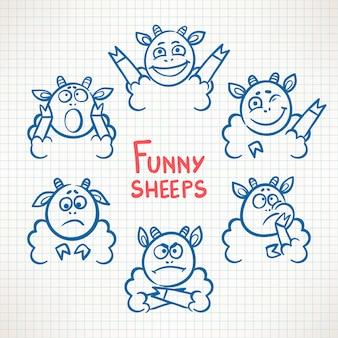 Ovelhas bonitas desenhadas à mão com diferentes rostos de emoções