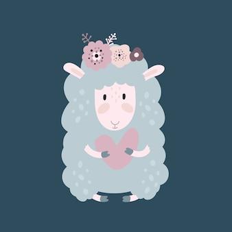 Ovelhas bonito dos desenhos animados