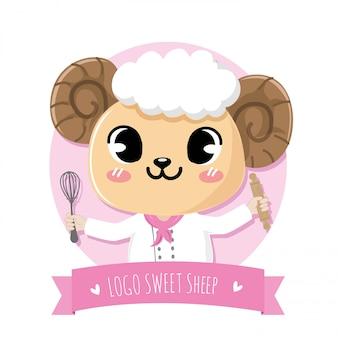Ovelhas bonito e amigável fazendo a sobremesa