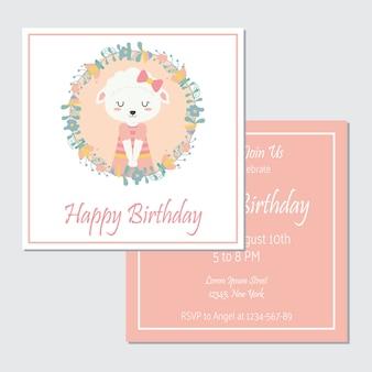 Ovelhas bonitos na grinalda de flores apropriada para o conjunto de cartão de aniversário