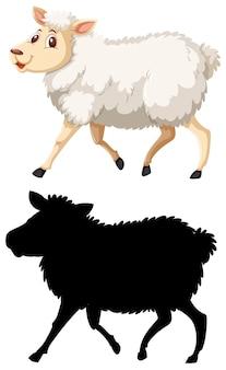 Ovelhas coloridas e silhoutte