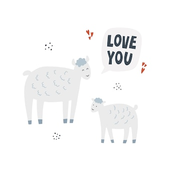 Ovelhas com cordeiro. mão-extraídas ilustração vetorial com letras. mãe animal com seu bebê diz te amo.