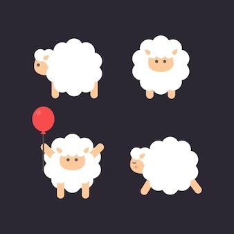 Ovelhas de bebê fofo com balão vermelho