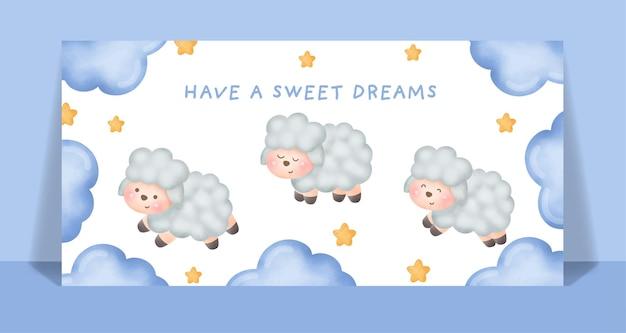 Ovelhas em aquarela correr e saltar no cartão do céu
