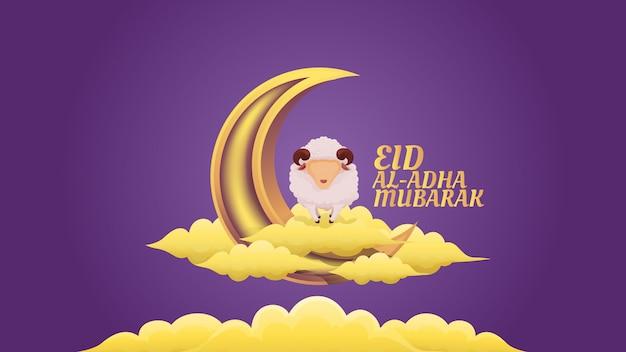 Ovelhas em cima da ilustração de nuvens e lua crescente para celebração muçulmana de eid al adha