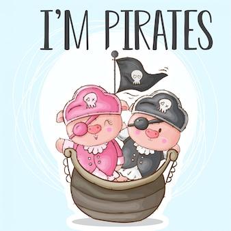 Ovelhas fofos animais pequenos piratas