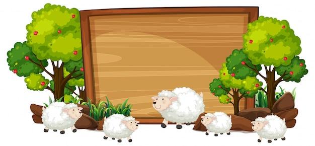 Ovelhas na bandeira de madeira