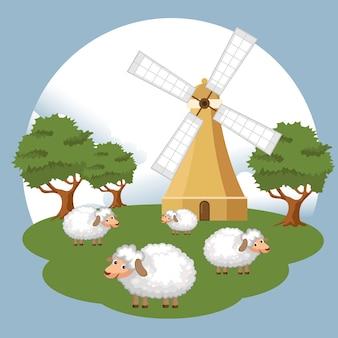 Ovelhas na cena da fazenda