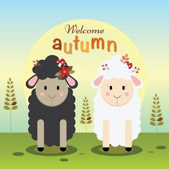 Ovelhas preto e branco, congratulando-se com o outono
