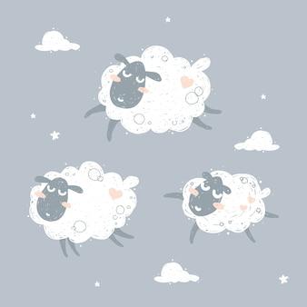 Ovelhas voando bonito e sonhando ilustração