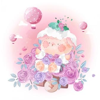 Ovelhinha bonitinha afogada em flores no céu brilhante.