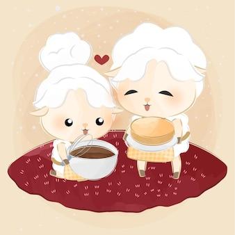 Ovelhinhas fofas cozinhando juntas