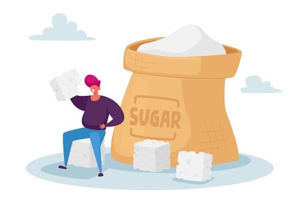 Overdose glucose eating problem, sugar addiction concept