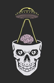 Ovni alienígena roubando cérebro humano