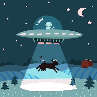 Ovni com alienígena seqüestrando uma vaca, paisagem de fazenda à noite de verão com o campo noturno com casa. ilustração plana com estrelas e lua no céu. estilo dos desenhos animados