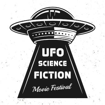 Ovni com texto ilustração vintage do festival de filmes de ficção científica
