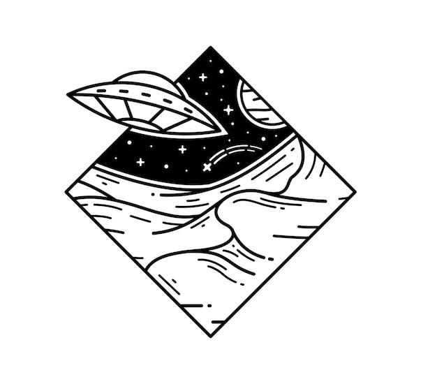 Ovni no espaço galáxia tatuagem monoline emblema design