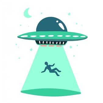Ovni rapta humanos. nave espacial ovni raio de luz ilustração em estilo simples, isolado no fundo branco. conceito de impressão desenhado de mão.