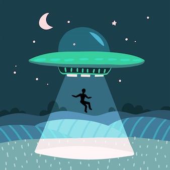 Ovni sequestrando um homem, paisagem de fazenda noite de verão no campo noturno. fundo com estrelas e lua no céu. ilustração plana