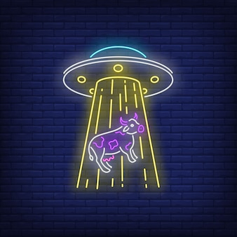 Ovni seqüestrando vaca sinal de néon