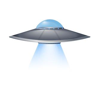 Ovni voando nave espacial isolada no fundo branco