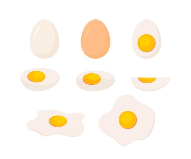 Ovo com casca de ovo, pedaços cozidos e batatas fritas. ovos fatiados inteiros e pela metade.