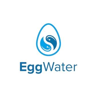 Ovo com gota de água e símbolo de yin yang simples, elegante, criativo, geométrico, moderno, logotipo