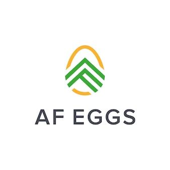 Ovo com letra ae letra f delinear design de logotipo moderno simples e elegante criativo