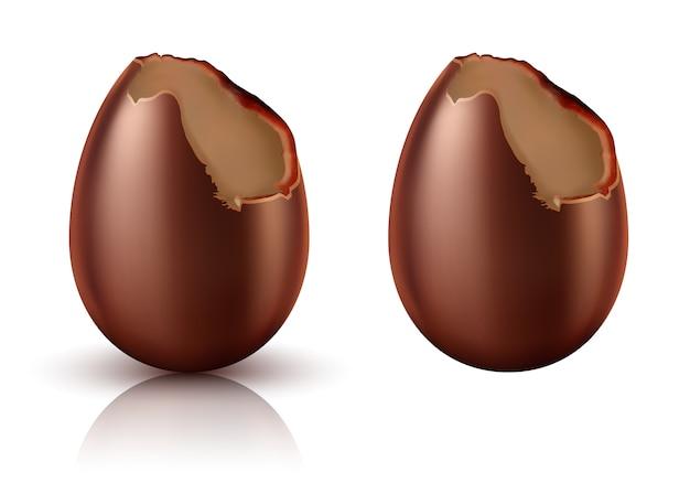 Ovo de chocolate inteiro e mordido vetor realista
