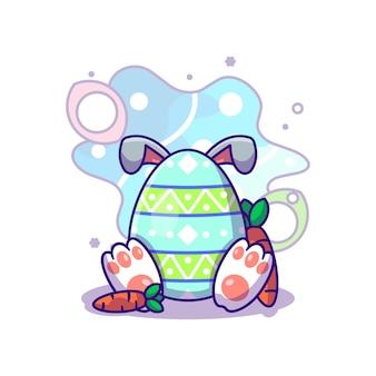 Ovo de coelhinho da páscoa com cenoura para ilustração de ícone de vetor de dia de páscoa