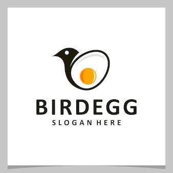Ovo de design de logotipo de inspiração com logotipo de pássaro. vetor premium