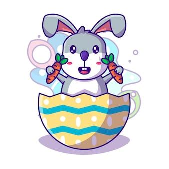 Ovo de páscoa com coelho fofo e cenoura para ilustração vetorial de ícone de dia de páscoa