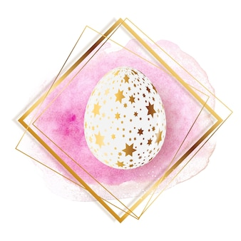 Ovo de páscoa com respingos de tinta e moldura dourada