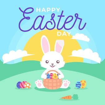 Ovo de páscoa feliz cartão de saudações colorido desenhado à mão coelhinha segurando os ovos
