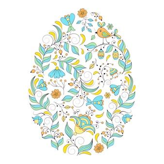 Ovo de páscoa floral em fundo branco