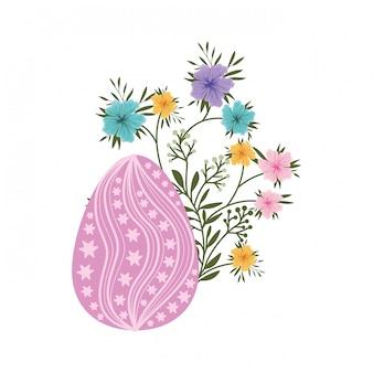 Ovo de páscoa flores e folhas ícone isolado