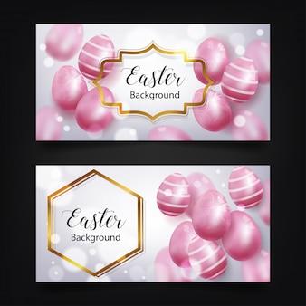 Ovo de páscoa luxuoso do teste padrão cor-de-rosa. renderização em 3d