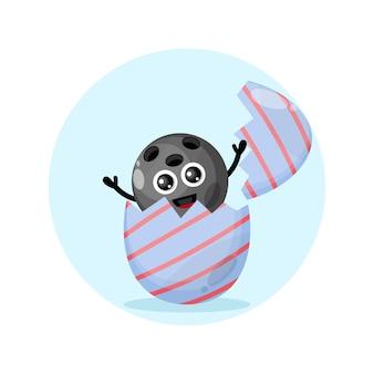 Ovo de páscoa, mascote do personagem fofo da bola de boliche
