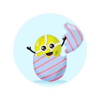 Ovo de páscoa, mascote do personagem fofo da bola de tênis