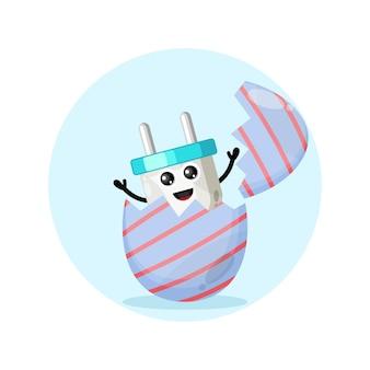 Ovo de páscoa para plugue elétrico, mascote do personagem fofo