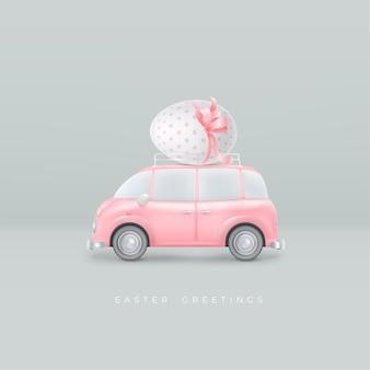Ovo de páscoa realista de feliz páscoa com laço rosa no teto do carro de brinquedo