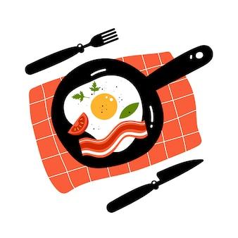 Ovo frito e bacon na panela. hora do café da manhã. ilustração vetorial
