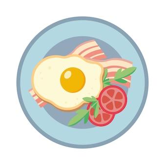 Ovo frito em um prato. ovos fritos com bacon e tomate. ilustração.