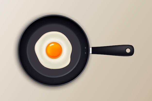 Ovo frito em uma panela preta. ícone realista.