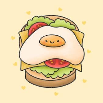 Ovo frito no sanduíche de queijo cartoon estilo mão desenhada