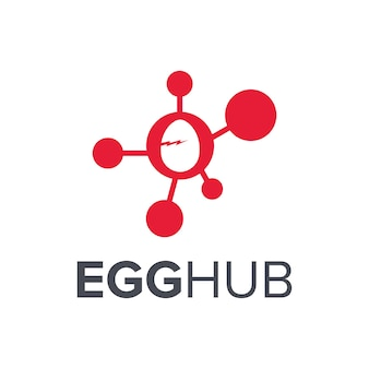 Ovo incubado e centro simples, elegante, criativo, geométrico, moderno, design de logotipo