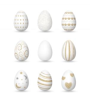 Ovos brancos realistas com padrões de ouro, coleção de dia de páscoa