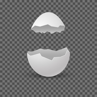 Ovos brocken. quebrar a casca do ovo. shell de quebra branca realista de vetor em fundo transparente.