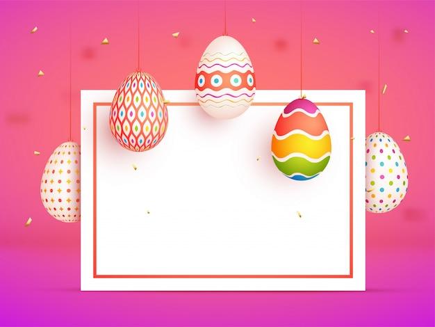 Ovos coloridos pintados e espaço para o seu texto