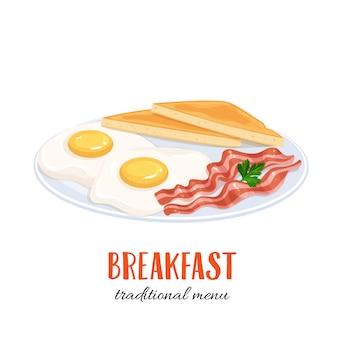 Ovos com bacon e torradas